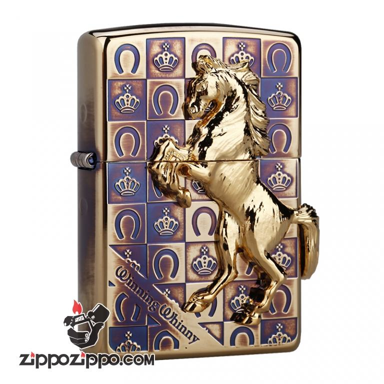 Bật lửa Zippo đồng cổ khắc hình ngựa
