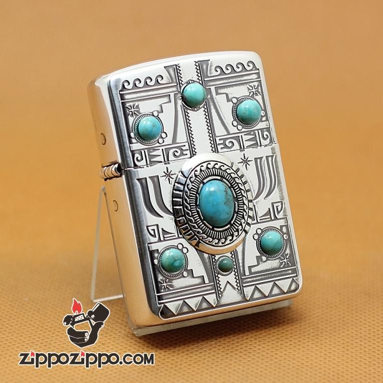 Zippo Chính Hãng Họa Tiết Ấn Độ Đính Ngọc Vỏ Dày Armor