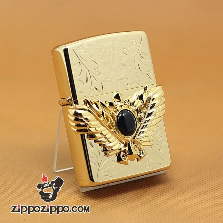 Zippo Chính Hãng Cánh Thiên Thần Vàng Gắn Viên Ngọc