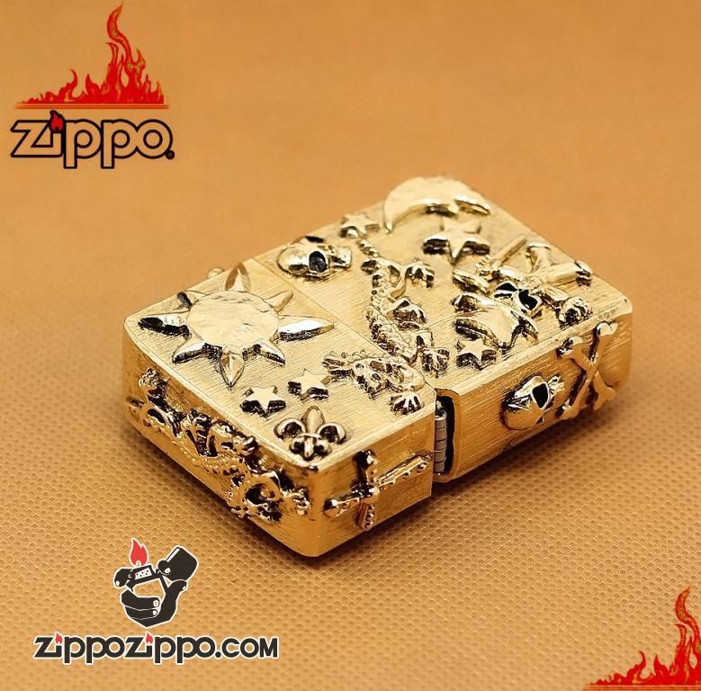 Zippo Chính Hãng Vỏ Độ Hình Cướp Biển Đầu Lâu Hầm Hố
