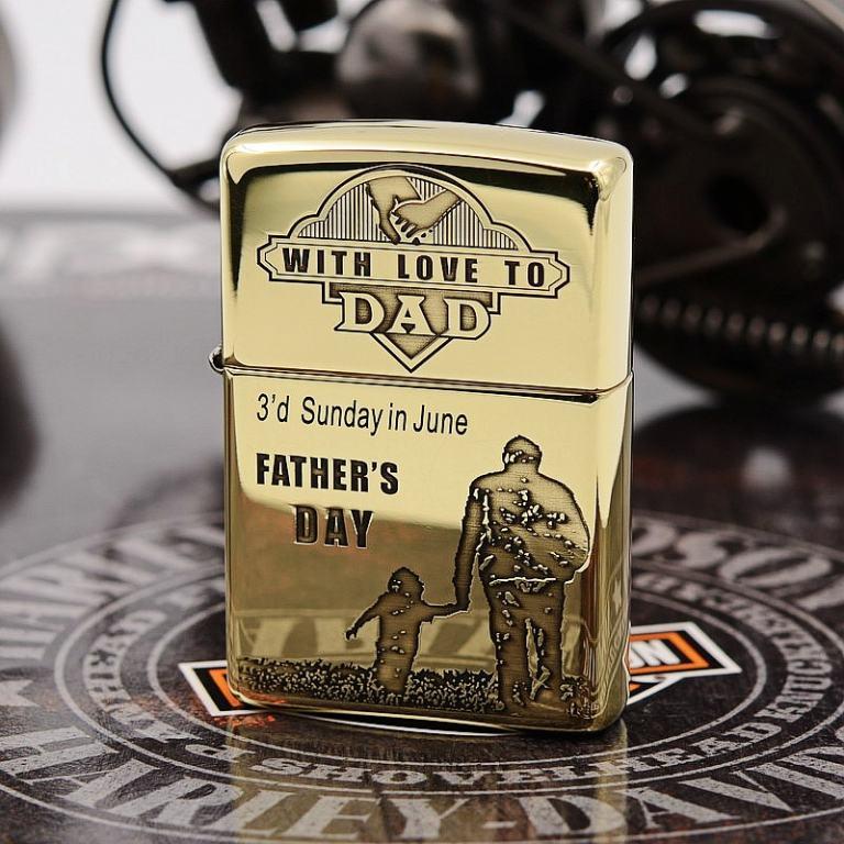 Zippo Chính Hãng Đồng Bóng Khắc Ngày Của Người Cha Vĩ Đại