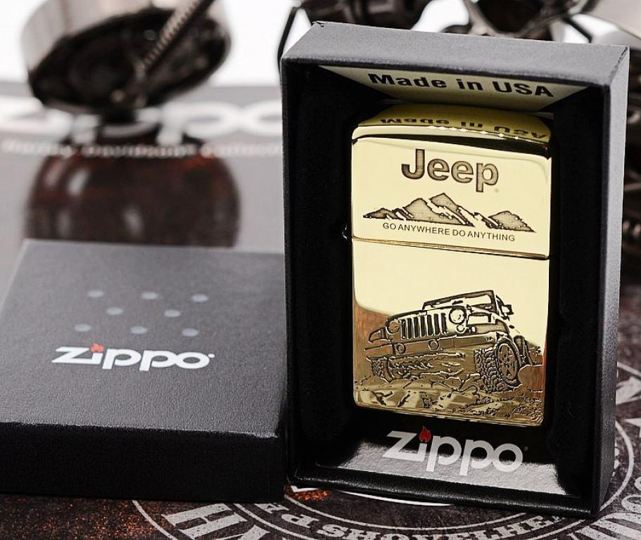 Zippo Chính Hãng Đồng Bóng Khắc Hình Xe Jeep Giới Hạn 5000 Mãu