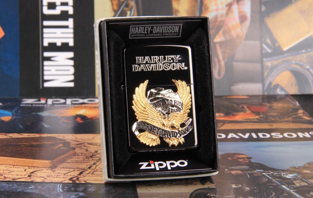 Zippo Chính Hãng Đen Harley Davidson Chim Ưng Mạ Vàng Live To Ride