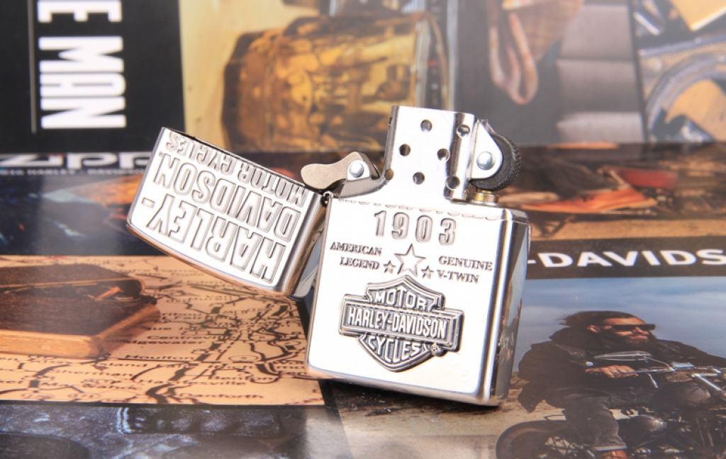Zippo Chính Hãng Bạc Huy Hiệu Harley Davidson 1903