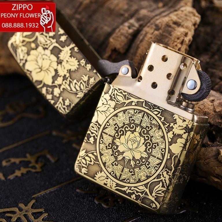Zippo Chính Hãng Đồng Khắc Vòm Hoa Mẫu Đơn Xung Quanh