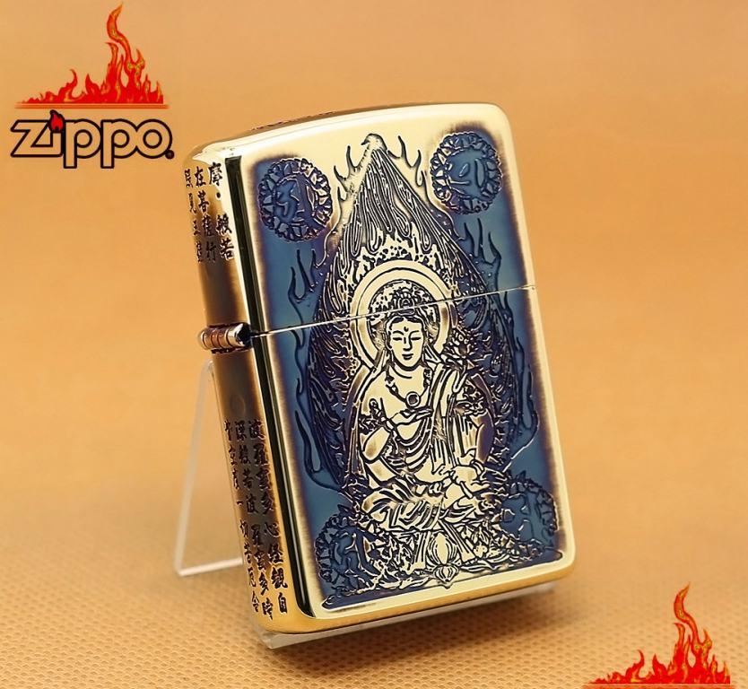 Zippo Chính Hãng Màu Vàng Đốt Khắc Hình Phật Cùng Tâm Kinh