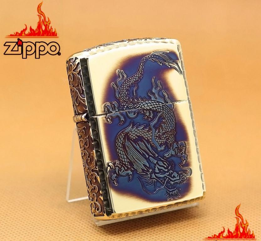 Zippo Chính Hãng Màu Vàng Đốt Khắc Rồng Bay Xuống Cùng Hoa Văn Arab Vỏ Dày Armor