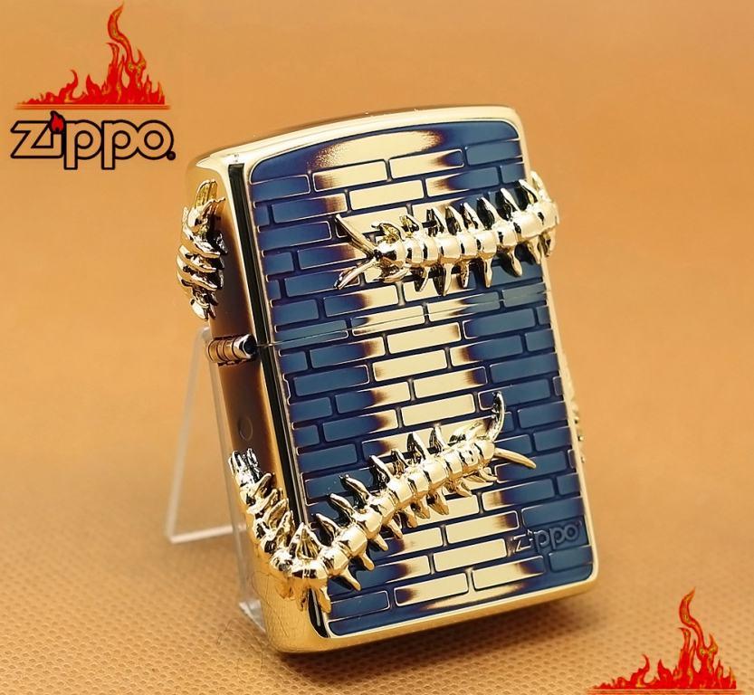 Zippo CHính Hãng Màu Vàng Đốt Hình Con Rết