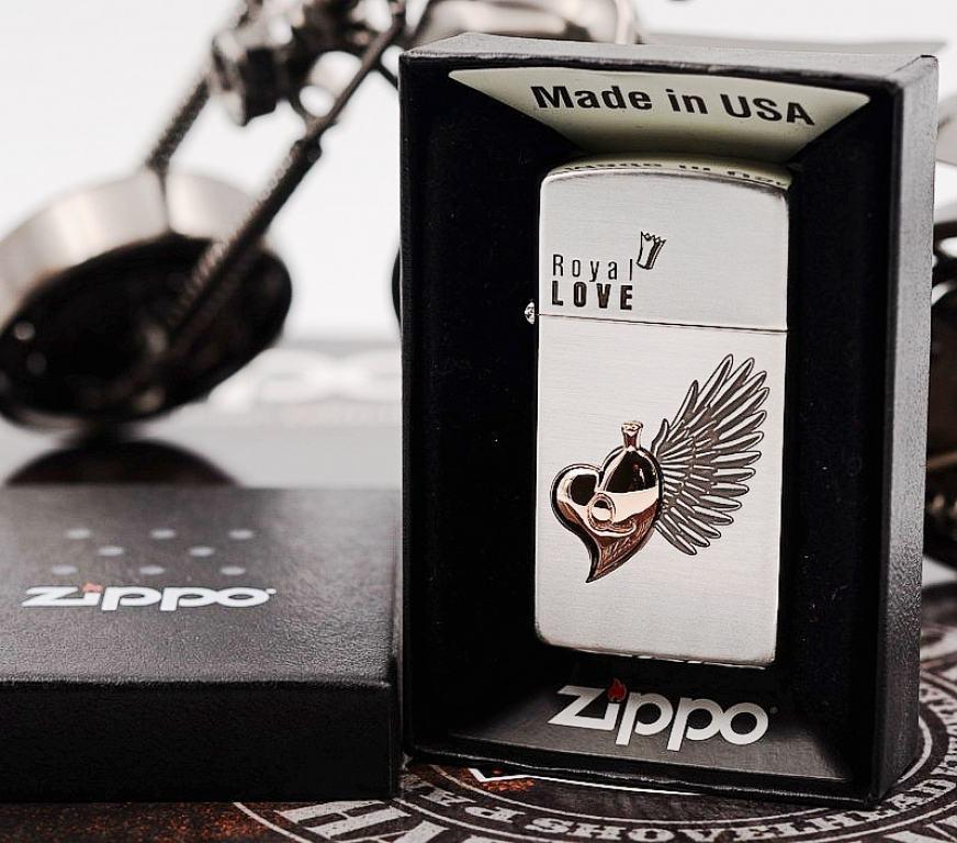 Bật lửa Zippo phiên bản Hàn Quốc trái tim có cánh Vỏ Slim