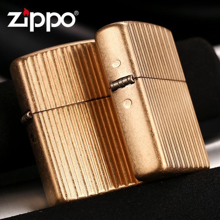 Zippo Chính Hãng Đồng Họa Tiết Kẻ Dọc Nổi Vỏ Dày