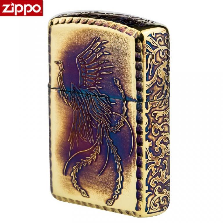 Zippo Chính Hãng Màu Vàng Đốt Khắc Phượng Hoàng Cùng Hoa Văn Arab Vỏ Dày Armor