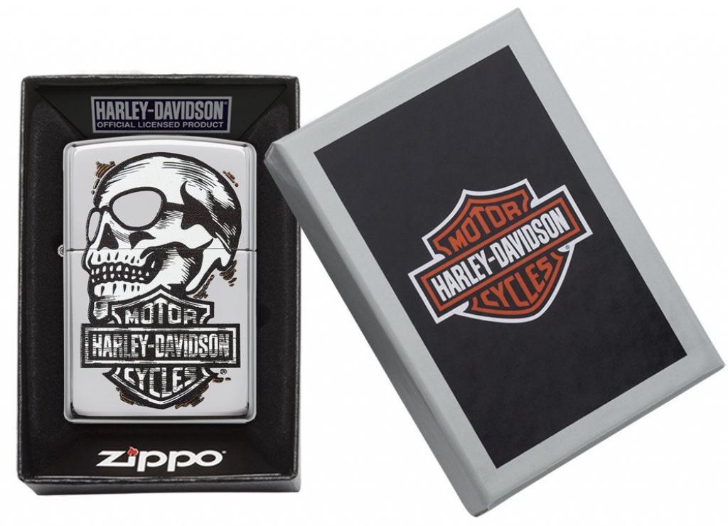 Zippo Chính Hãng Bạc Hình Đầu Lâu Harley Davidson