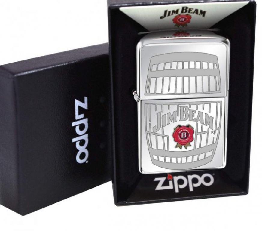 Zippo Chính Hãng Bạc Khắc Logo Hãng Rượu Jim Beam