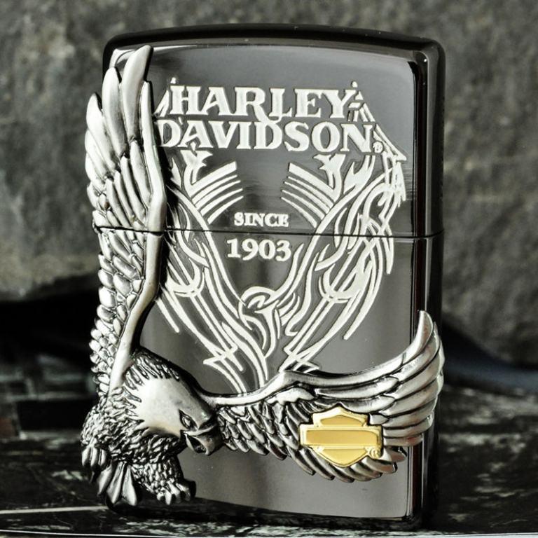 Zippo Chính Hãng Màu Xám Phiên Bản Harley Davidson Chim Ưng Nổi HD 18