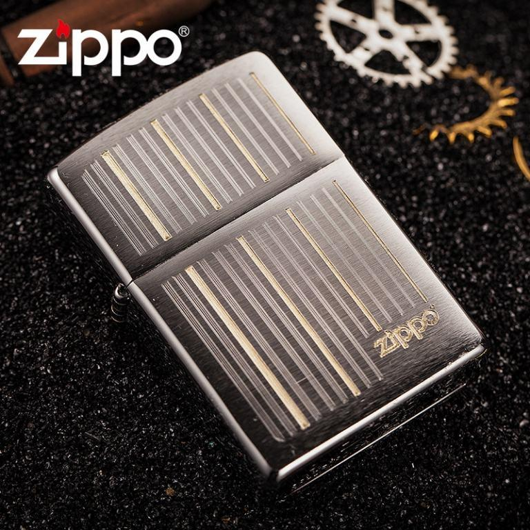 Zippo Chính Hãng Bạc Khắc Đường Kẻ Dọc Có Logo ZP