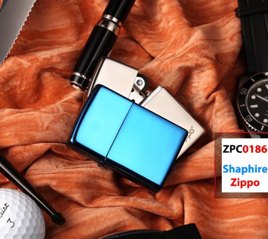 Zippo Chính Hãng Xanh Saphire