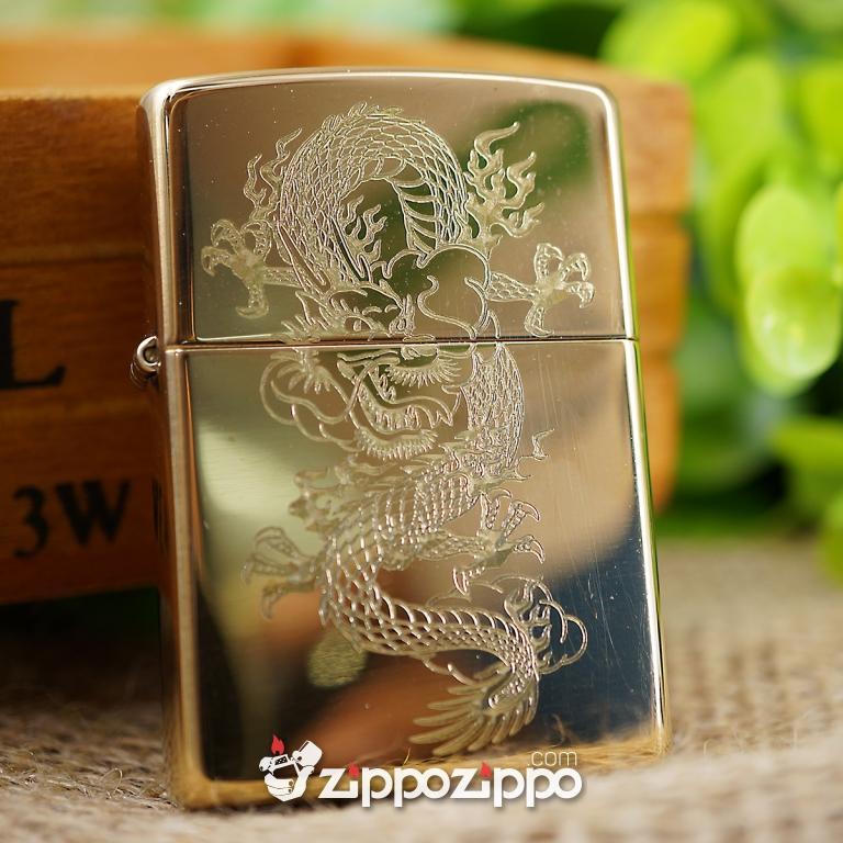bật lửa zippo vỏ đồng chạm khắc hình rồng