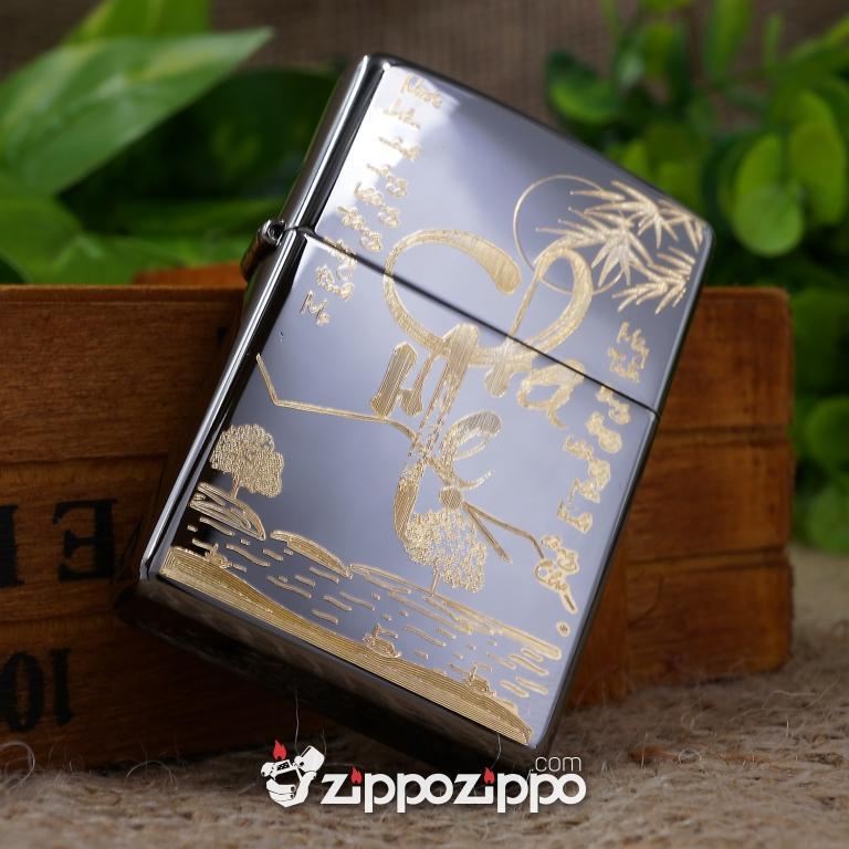 Zippo Đen Bóng Khắc Mạ Vàng Chữ Cha Mẹ