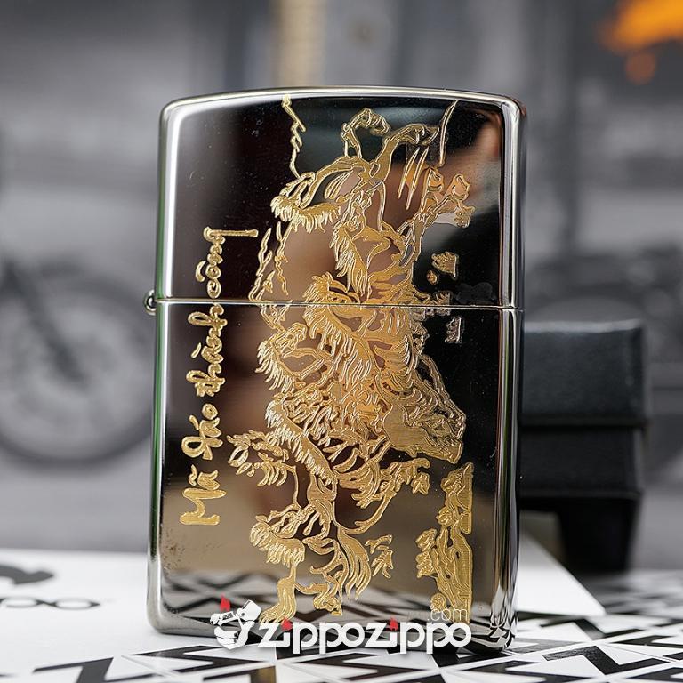 zippo Đen Bóng khắc mạ vàng chữ mã đáo thành công