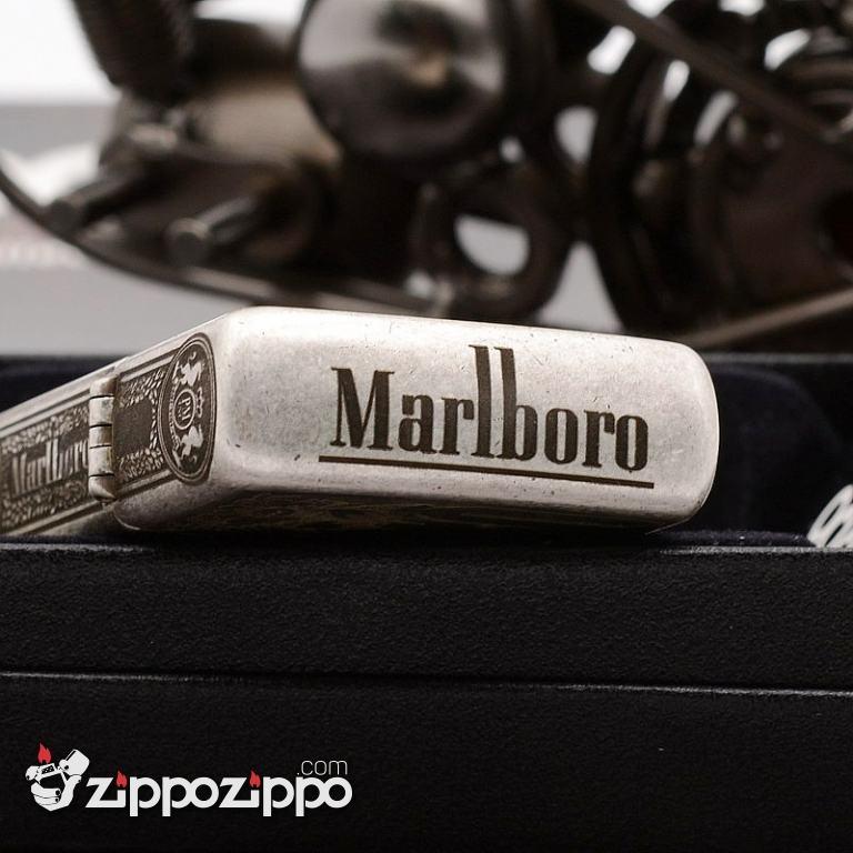 Zippo Chính Hãng Bạc Cổ  Khắc Logo Marlboro