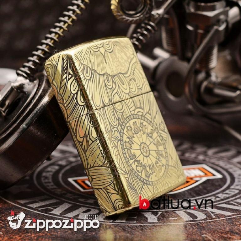 Zippo Chính Hãng Đồng Khắc 12 Con Giáp Tuổi Sửu ( trâu)