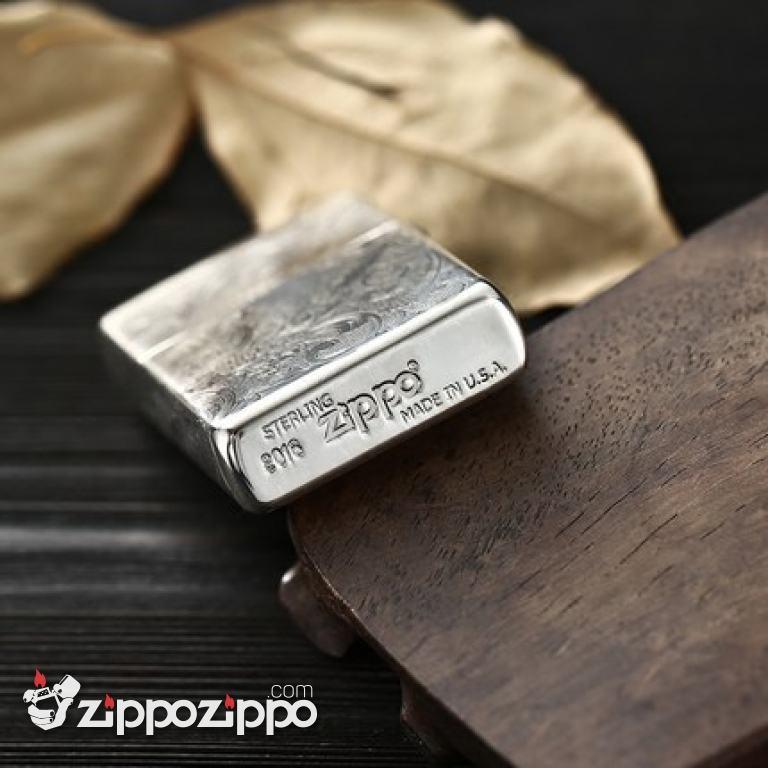 Bật Lửa Zippo Bạc Nguyên Khối Chạm Khắc Họa Tiết Rồng Nguyên Con