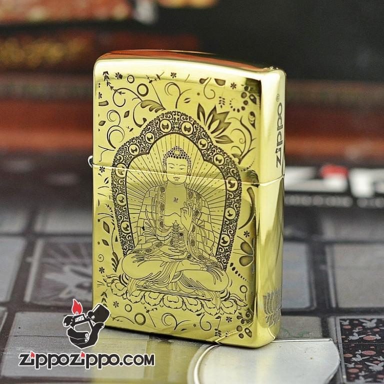 Bật lửa Zippo chất liệu đồng phiên bản bóng armor khắc Đức Phật Thích Ca Mâu Ni