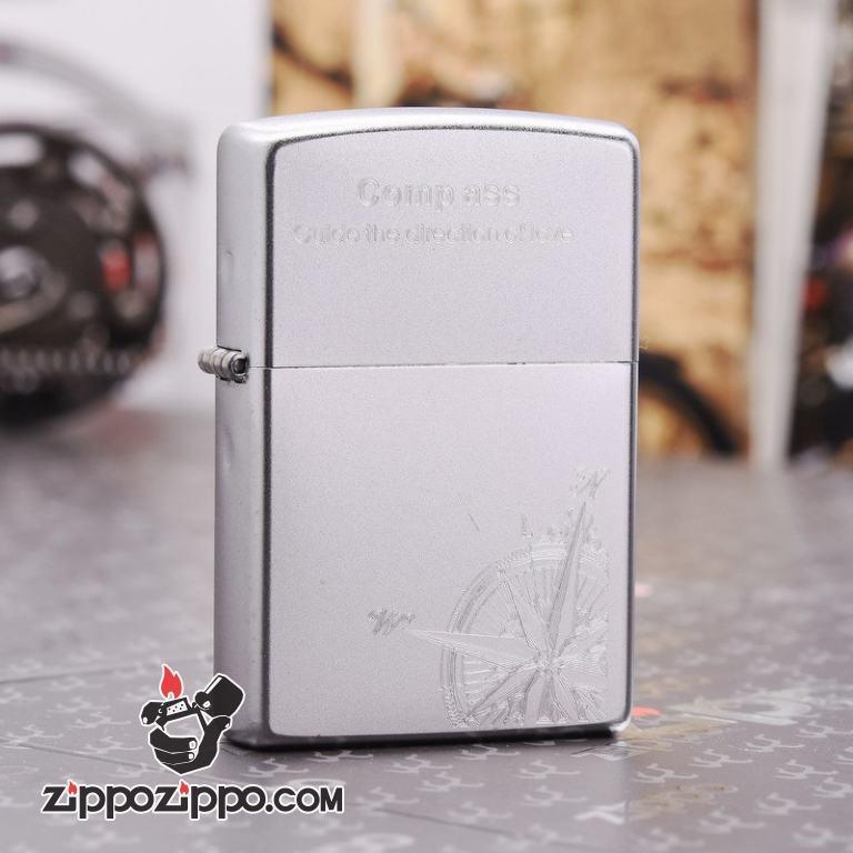 Bật lửa Zippo chính hãng bạc khắc la bàn