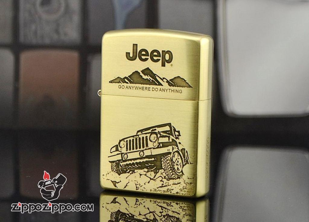 Zippo Chính Hãng Đồng Xước Khắc Hình Xe Jeep