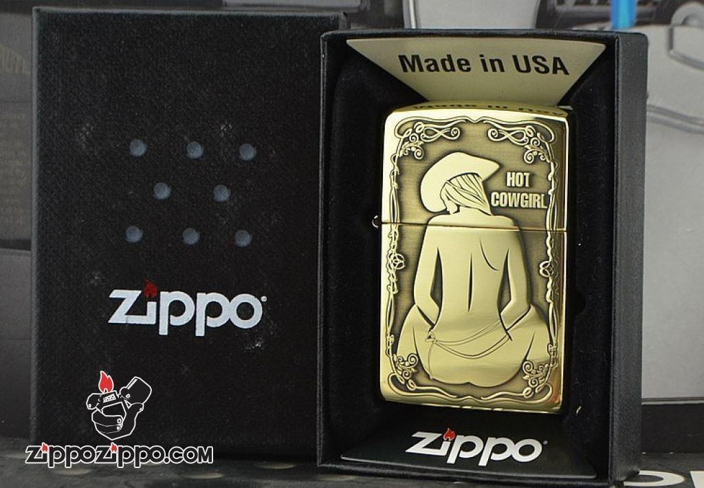 Bật lửa Zippo đồng bống khắc Hot Cowgirl Sexy