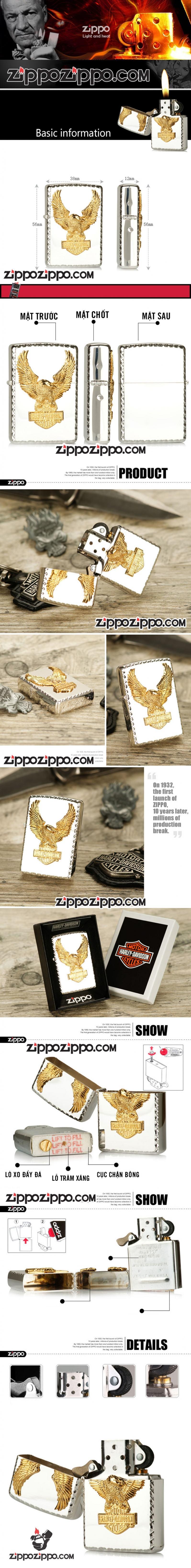 Zippo Chính Hãng Bạc Biểu Tượng Chim Ưng Harley Davidson Mạ Vàng