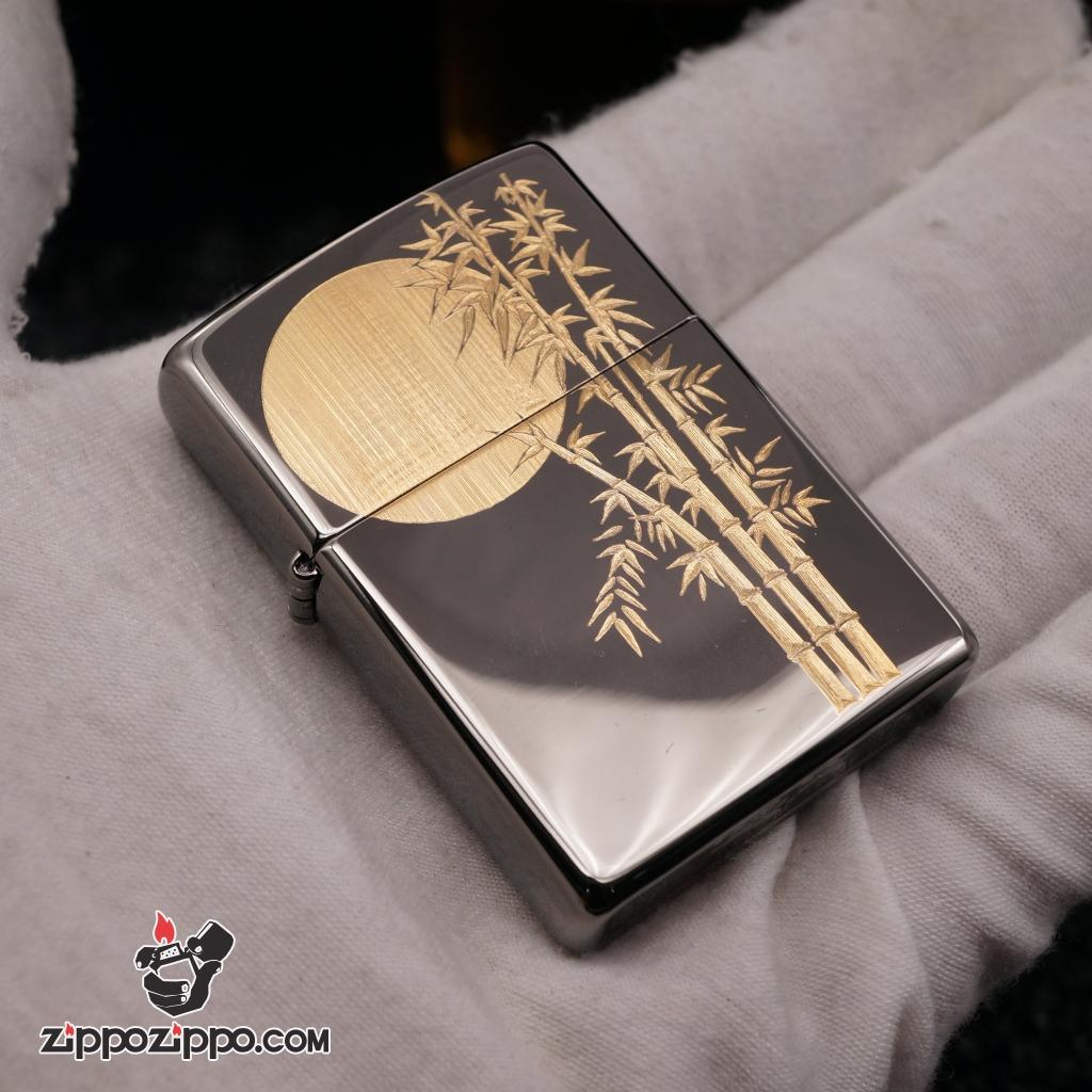Zippo black khắc cây trúc mạ vàng