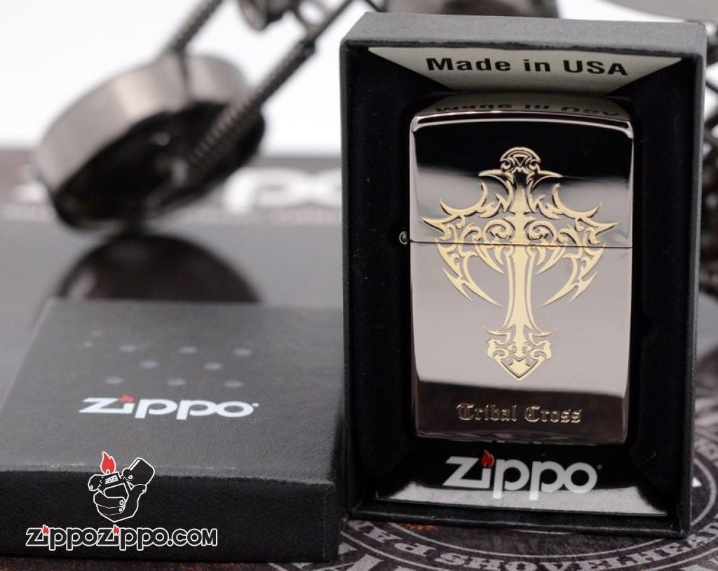 Zippo chính hãng đen bóng Tribe Cross