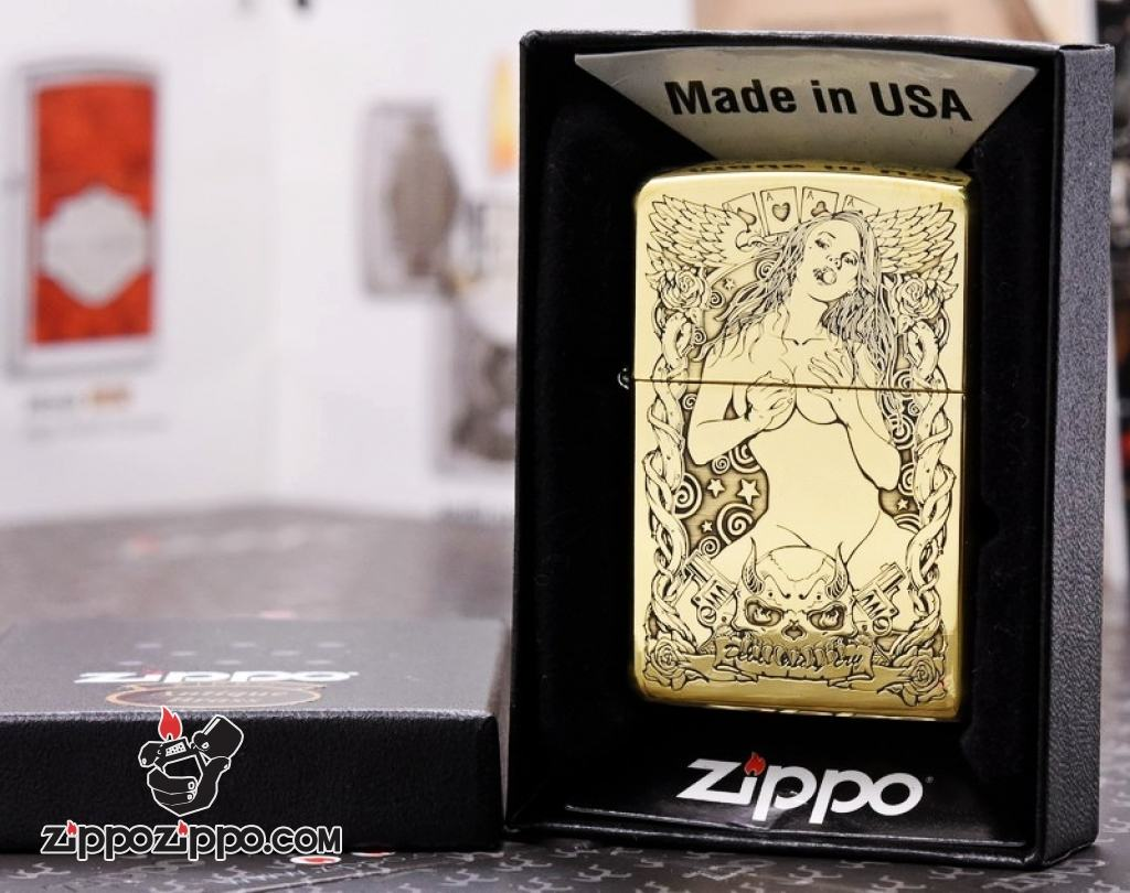 Zippo chính hãng đồng khắc cô gái sexy quyến rũ