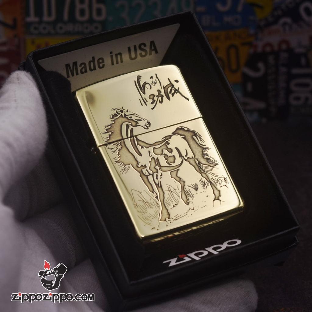 Bật lửa Zippo chính hãng đồng Bóng nhẹ khắc mã đáo thành công