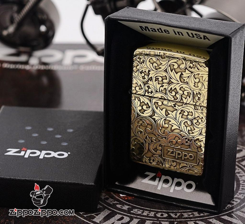 Zippo chính hãng đồng bóng khoăc hoa văn nổi logo zp