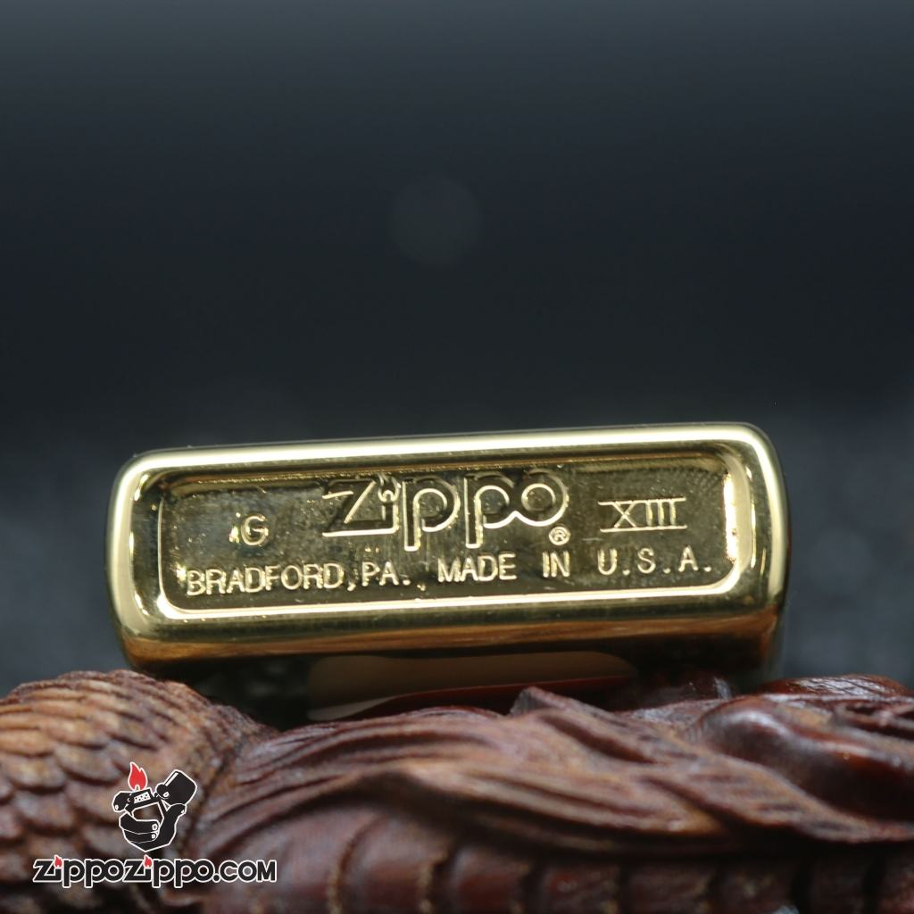 Bật Lửa Zippo Cổ Vàng bóng tầu chiến Sản Xuất Năm XII (1996 )