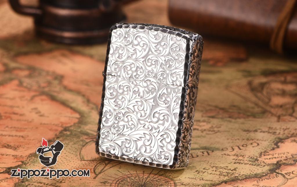Zippo chính hãng nhật bạc khắc hoa văn