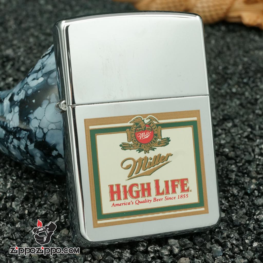 zippo cổ hãng bia miller - bạc bóng miller high life 1996