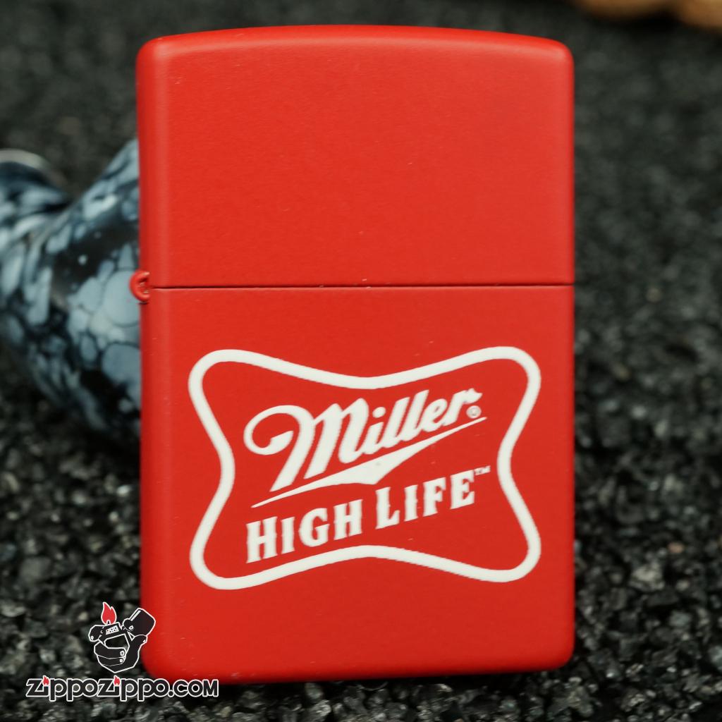 zippo cổ hãng bia miller - miller sơn đỏ 1999