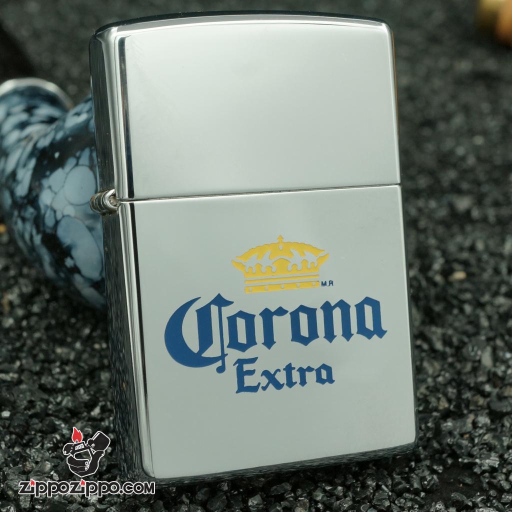 zippo cổ bạc bóng khắc vương miện corona sản xuất năm 1996