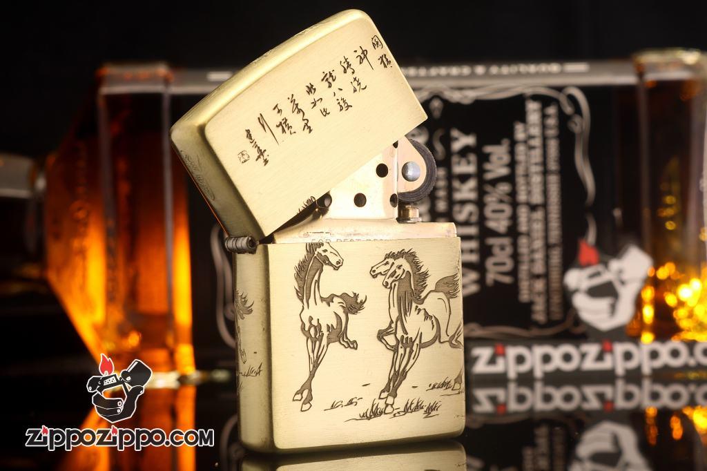 Bật lửa Zippo chính hãng chất liệu đồng hình song mã
