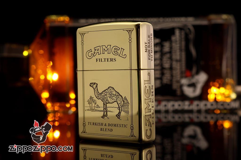 Bật lửa Zippo chính hãng đồng bóng khắc Lạc Đà CAMEL