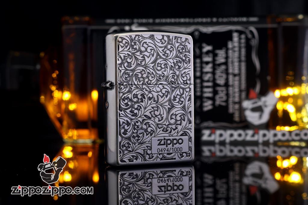 Bật Lửa Zippo Chính Hãng Phiên Bản Giới Hạn Màu Bạc Khắc Hoa Văn Arabesque Hai Mặt