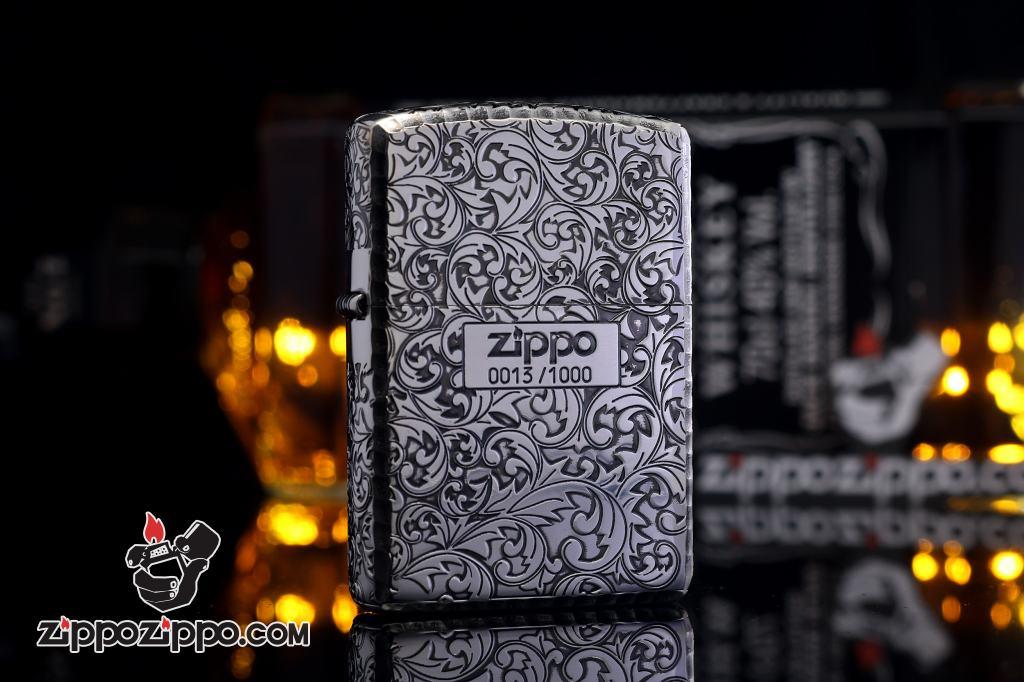 Zippo Chính Hãng Mạ Bạc phiên bản giới hạn Khắc hai mặt arabesque Vỏ dày Armor
