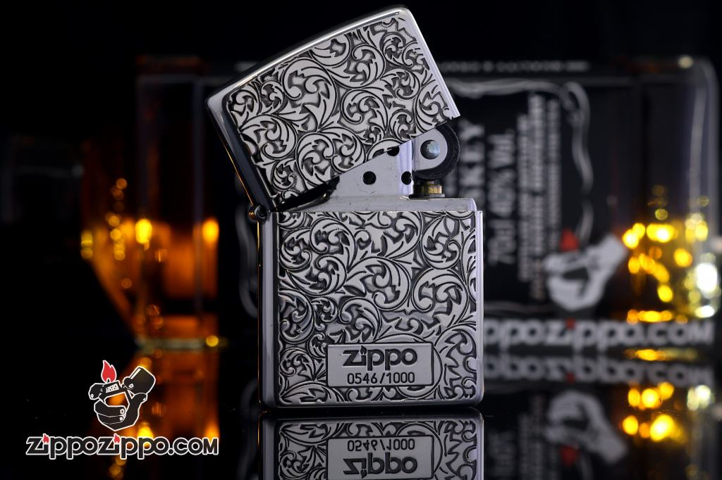 Bật Lửa Zippo Chính Hãng Mạ Bạc phiên bản giới hạn Khắc hai mặt arabesque