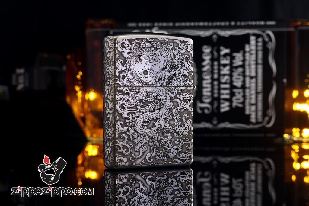 Bật Lửa Zippo Bạc nguyên khối Cao Cấp khắc hình rồng châu Á Dũng Mãnh