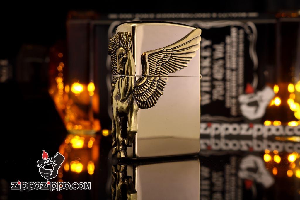 Bật lửa zippo chính hãng họa tiết ngựa thiên thần cạnh sườn phiên bản mạ vàng 24k
