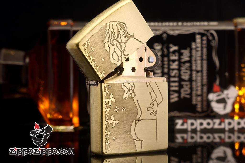 Bật lửa Zippo chính hãng đồng khắc cô gái sexy bản xước