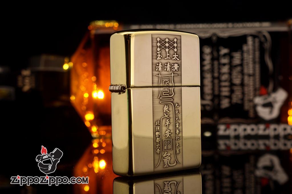 Bật lửa Zippo chính hãng đồng Bóng khắc bùa âm dương ngũ hành
